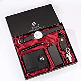 YPSMCYL Coffret Cadeau Boutique Portefeuille + Batterie Externe + Porte-clés + Montre à Quartz Grand Cadran + Stylo Coffret Cadeau Homme,Negro