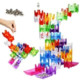 HAIJIN Gravity Maze Marble Run Brain Game and Science Education Logic Puzzle STEM Pipeline Building Blocks Kids Toy,The Best Gift for Boys and Girls,(48 Translucent Marbulous Pieces+15 Marbles)