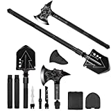 Camping Shovel Axe, Multifunctional Military Folding Survival Shovel, Entrenching Tool Set with Tactical Waist Pack, Camping Axe Military Shovel for Camping, Backpacking, Outdoor,Hiking (Black)