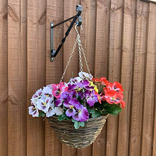 Artificial Hanging Basket, Bracket & Pansy Flowers - Set Of Hanging Basket, Bracket & 6 Pansy Plants for Outdoor - Faux Flower Decorations with UV Fade Resistant Colour - Bracket Included (LARGE)