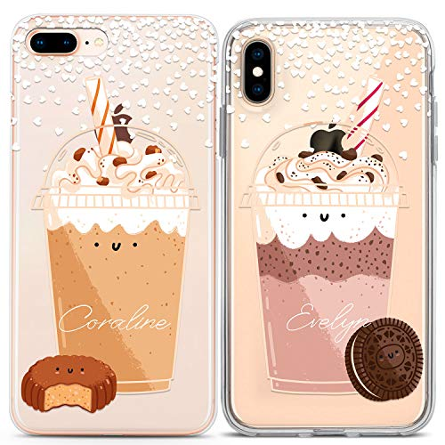 Lex Altern Couple Case for iPhone 11 Pro Xs Max X Xr 8 Plus 7 6s SE 5s TPU Matching Custom Personalized Clear BFF Oreo Milkshake Soulmate Protective Phone Anniversary Silicone Cover Print