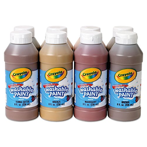 Crayola 54208W Multicultural Washable Paint, 8 oz Bottles, 8 Colors/Pack