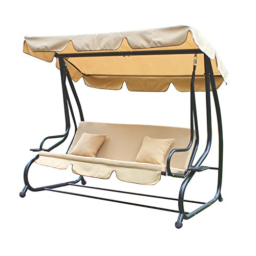 Adeco Canopy Awning Porch Swings Bench Chair, Outdoor (Beige1)