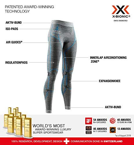 X-BIONIC Apani 4.0 Pantalon en Laine mérinos pour Femme M Noir/Gris/Turquoise