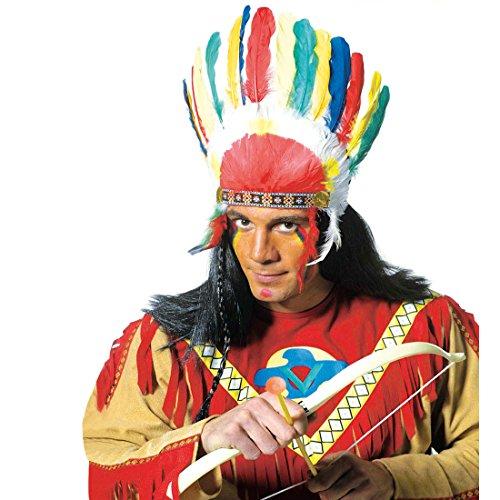 Amakando Häuptling Federhaube Indianer Kopfschmuck Western Feder Haube Federkopfschmuck Apachen Rothaut Squaw Wilder Westen Federschmuck Fasching Cowboy Mottoparty Accessoire Karneval Kostüm Zubehör