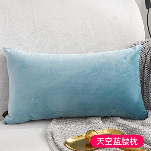 Nordic pillows Living room sofas Bedside pillows Chairs Office lumbar pillows Velvet pillowcases@Solid color - sky blue rectangle_26X46cm (pillowcase)