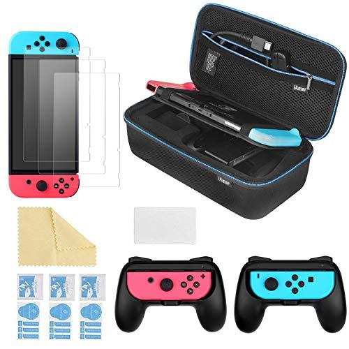 iAmer 6 in 1 Zubehör für Nintendo Switch, Tasche für Nintendo Switch and 2 Griff für Nintendo Switch Joy-Cons and 3 Stück Displayschutzfolien