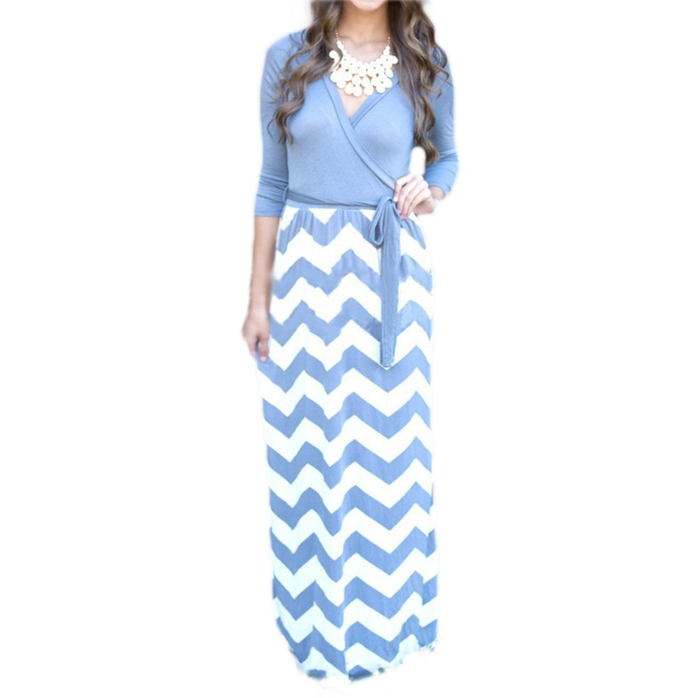 Available at Amazon: SUNTTON Women's V-Neck 3/4 Sleeves Long Maxi Casual Party Dress with Belt