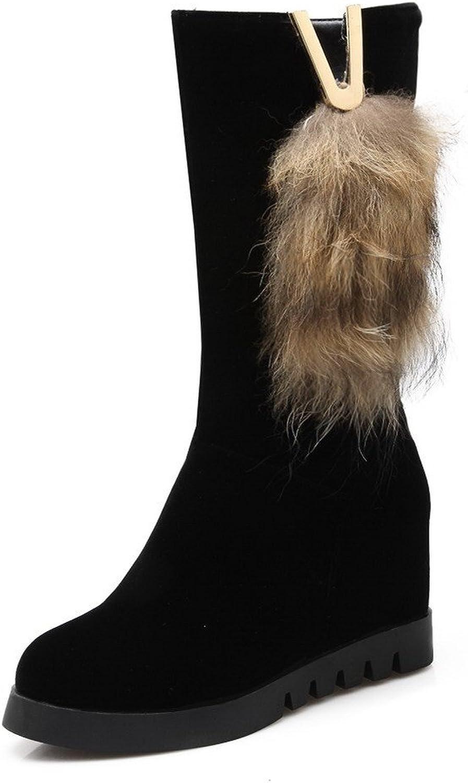 WeiPoot Women's Blend Materials Round Closed Toe Kitten-Heels Solid Boots