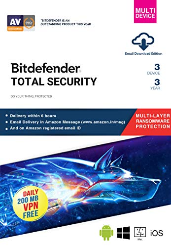 BitDefender Total Security Latest Version (Windows / Mac / Android / iOS) – 3 Devices, 3 Years (Email Delivery in 2 hours – No CD)