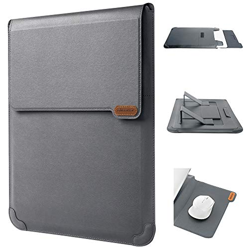 Nillkin Laptop Sleeve Case Compatible with 14-16 inch 3 in 1【Laptop Stand,Mouse pad】 MacBook Pro Sleeve case MacBook Air Notebook Computer PU Leather Super Padded Bag Waterproof Protective Case Gray