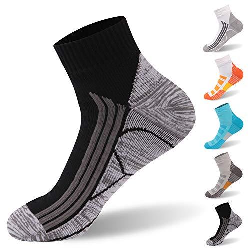 100% Waterproof Socks, RANDY SUN Running Socks Breathable Unisex Running Hiking Cycling Socks,Thank You Gifts, 1 Pair-Black-Ankle socks,Large