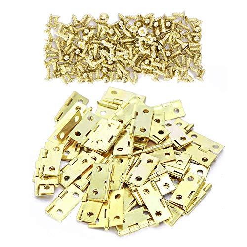 DOITOOL 50 Piezas Mini bisagras de lat/ón para joyero con 200 Piezas Tornillos peque/ñas bisagras para Caja de Madera gabinete de Muebles en Miniatura