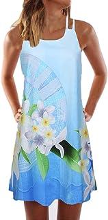 Vintage Women Summer Sleeveless Beach Printed Short Mini Dress