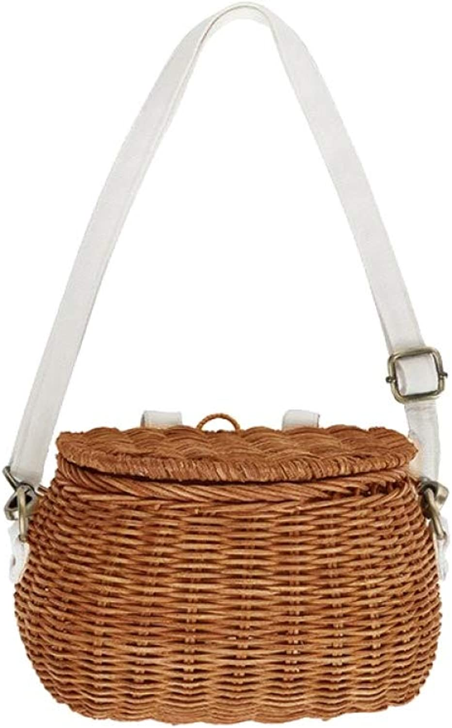 Women Straw Bag Vintage Rattan Fashion Handmade Knitted Crossbody Shoulder Handbag for Beach Travel Holiday