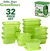 Debbie Meyer GreenBoxes, Food Storage Containers with Lids, Keep Fruits, Vegetables Baked Goods & Snacks Fresher Longer BPA Free, Microwave & Dishwasher Safe, 32-Piece, Green