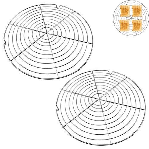 HUYIWEI Kuchenauskühler, 2 Stück rundes Kuchengitter,Kuchengitter für gleichmäßiges und schnelles Auskühlen Tortenkühler Leichte Lösbarkeit der Gebäcke