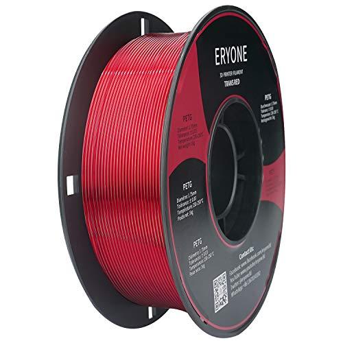 Filamento ERYONE PETG 1,75 mm, filamento PETG para impresora 3D, +/- 0,03 mm, 1 kg / bobina,Rojo transparente