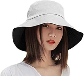 Howely Womens Two Way Wear Foldable Solid Wide Brim Hats w/Chin Cord