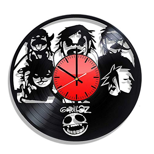 BombStudio Gorillaz Vinyl Record Wall Clock, Gorillaz Handmade for Kitchen, Office, Bedroom. Gorillaz Ideal Wall Poster
