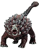 Gemini&Genius Saichania Action Figure Ankylosaurus Jurassic World Park Dinosaurs Early Science Education and Collectible Dino Action Figures for Kids (BrownishRed)