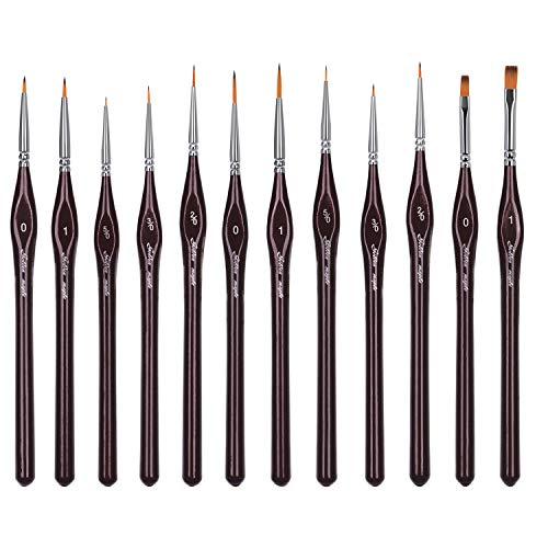 WLOT Pinselset Malen - Set 12 Premium Malpinsel - Ideal für Öl, Acryl, Aquarell, Modellbau, Warhammer Paint Brush Set