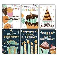 バースデーカード 誕生日カード メッセージカード voocye お祝い 母の日 24枚 封筒付き 封筒テープ付き