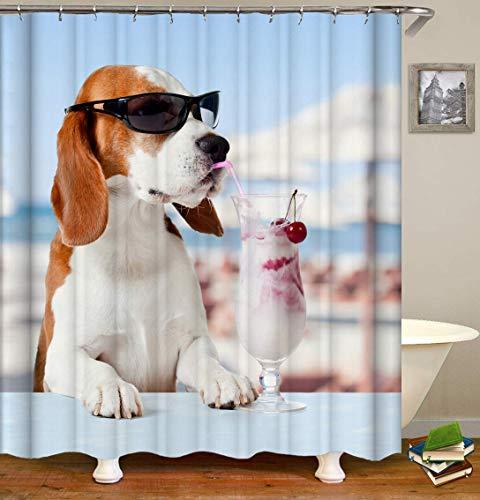 /N Gafas de Sol Frescas Bebida para Perros Bebida Hermosa impresión 3D HD no se desvanece, Cortina de Ducha de Fibra de poliéster Impermeable,