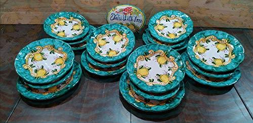 Piatti Vietri Ceramica vietrese Linea Barocco e Limoni 18pz 6 Piatti Piani 6 Piatti Fondi 6 Piatti Frutta
