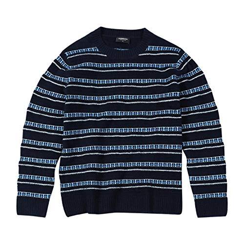 Otoño Invierno Nuevo Suéter Hombres Mezcla De Rayas Color De Contraste Jersey De Punto Suéteres M Azul