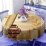 Toga Party - Mantel redondo con columnas griegas antiguas y florero de oliva, diseño de patrimonio helénico, tabla de protección de 63 pulgadas de diámetro, color marrón claro, canela blanca