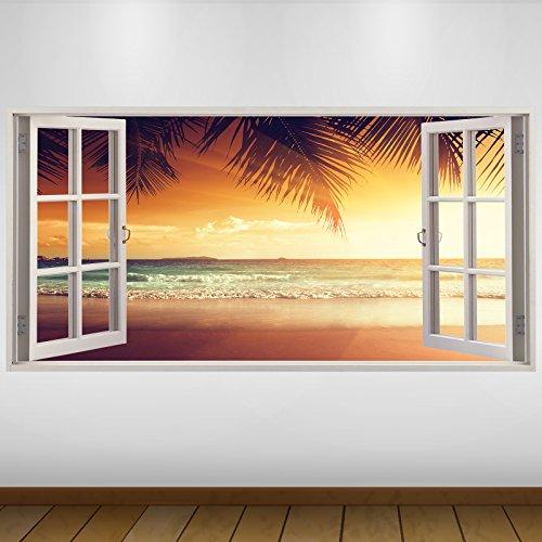 Extra Grande Naranja Atardecer en la Playa Naturaleza Vinilo 3D Póster - Mural Decoración - Etiqueta de la Pared -140cm x 70cm
