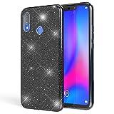 NALIA Glitter Cover compatibile con Huawei P smart+ (2018) Custodia, Sottile Brillantini Silicone Gel Copertura Glitterata, Slim Bling Case Protettiva Strass Bumper Guscio Skin Etui, Colore:Nero