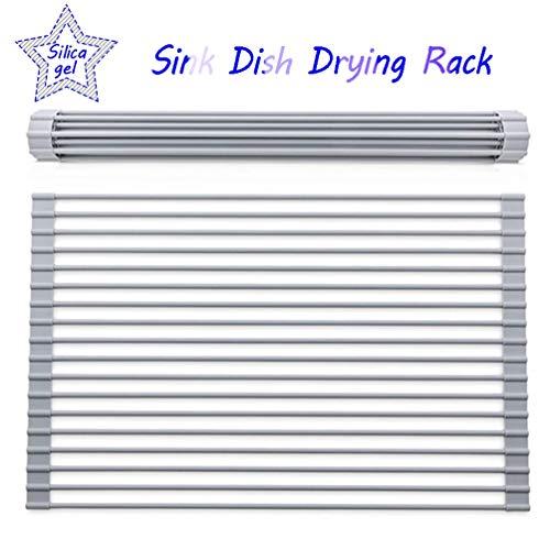 Über Sink Dish Wäschetrockner, Wäscheständer Home Roll Up Dish Drainer Haushalt Küche Silikon Folding Geschirr Filter Tragbare Multi Artifact Storage Rack (Size : 42×35cm/16.5 * 13.7inch)