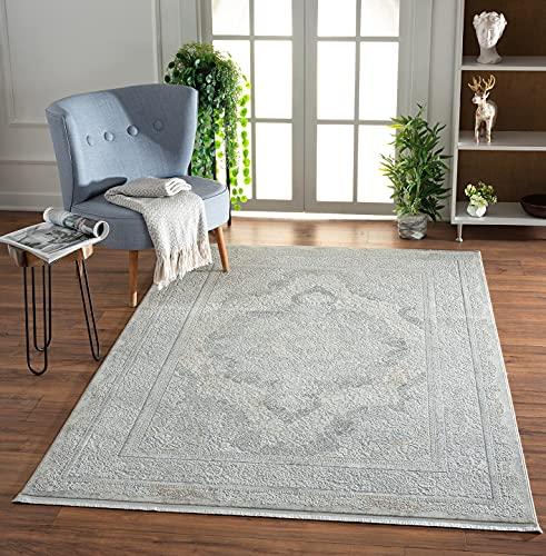 the carpet Scandi Exklusiver Designer Teppich, Wohnzimmerteppich, Hochwertig, Luxuriös, Pflegeleicht, Elegant, Edler Glanz, Orient, Grau, 160 x 230 cm