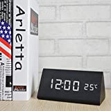 Voltstech Digital Alarm Clock, Triangle Wooden Clock with LED Display, 3 Alarm Settings, Temperature, Time & Date, Decor Digital Clock for Bedroom & Bedside (Black)