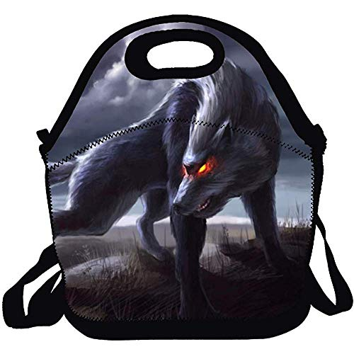 Ogden Multifictional Lunch Bag, Lunch Tote Bag/Cartoon Beautiful Wolf Backpack with Zipper for Kids/Adults