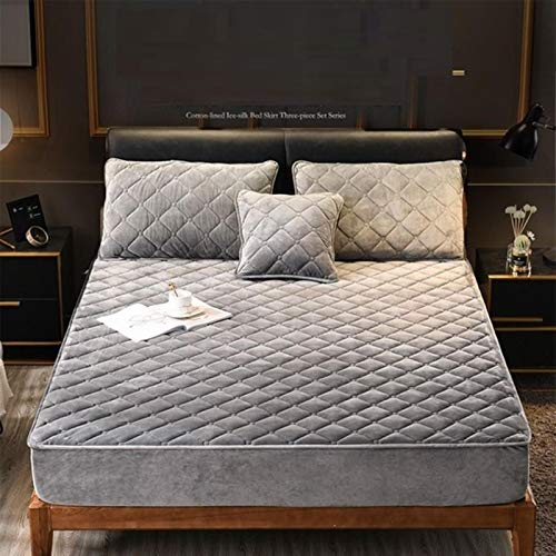 Plush Thicken Quilted Mattress Cover Warm Soft Crystal Velvet Quilted Bed Fitted Sheet,Color 5,120x190x30cm