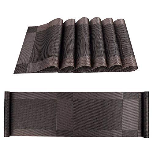 Tischläufer und Tischsets Rutschfest Abwaschbar PVC Platzdeckchen Set von 6 mit Passenden Tischläufer für Küche Zuhause Restaurant Speisetisch 30 x 180 cm