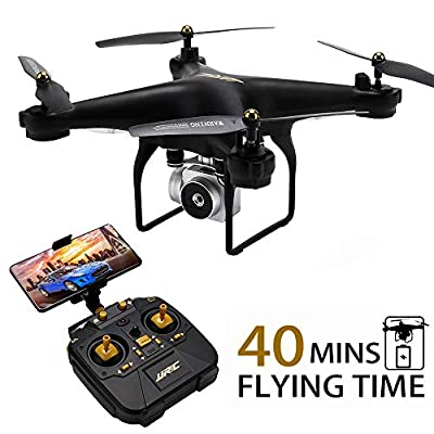 40MINS(20mins + 20mins) Long Flight Time Drone JJRC JJPRO H68 RC Quadcopter with Removeable 720P Camera FPV WiFi Helicopter with 2 Batteries Altitude Hold Headless Mode APP Control Best Drone (Black)