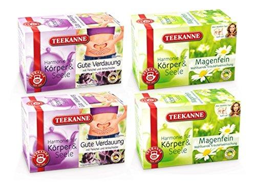 Teekanne Gute Verdauung und Magenfein Kräutertee Set - Für ein angenehmes Bauchgefühl (4 x 20 Teebeutel)