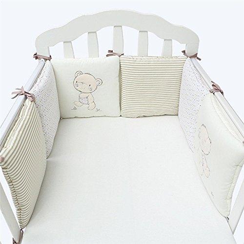 Lot de 6 tours de lit pour bébé - En coton respirant rembourré - 30 x 30 cm