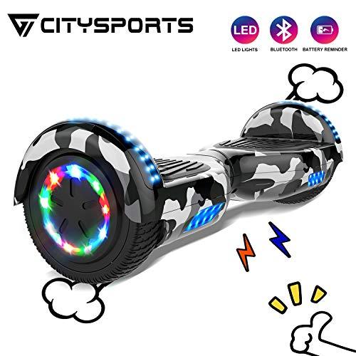 CITYSPORTS Self Balance Scooter 6,5 Zoll Hover Board Bluetooth, Self-Balance Board Motor 700W mit LED-Blitzrädern, elektrisches Skateboard für Erwachsene