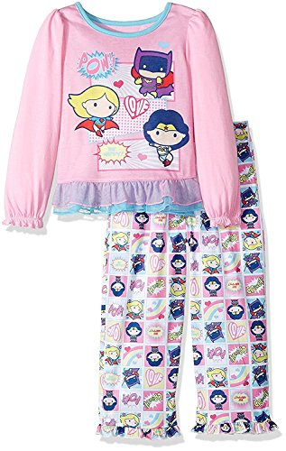 Komar Kids Justice League Pop Figure Superhero Girls Pajamas with Cape (3T, Pink)