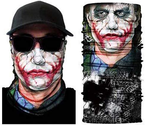 Zoelibat 97645541.016 - Schlauchschal Joker, Clown, Multifunktionstuch, Halstuch, Schal, Motiv, Mundschutz, Skimaske, Motorradmaske, Mottoparty, Karneval, Halloween