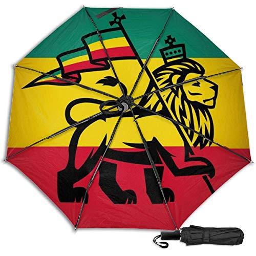 A Rastafari Flag King Jungle Reggaefunny Manual vinilo triple paraguas protector solar protección UV paraguas viaje paraguas