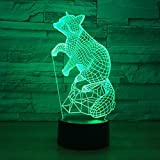 Lámpara De Ilusión 3D Luz De Noche LED Fox Mouse Luz 3D Noche Lámpara LED...