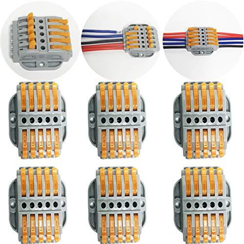 CTRICALVER 6 pcs SPL-5 Compact Connettore   Morsettiera a Barra di Pressione Bilaterale   Morsettiere elettriche   Connettori filo con viti di fissaggio