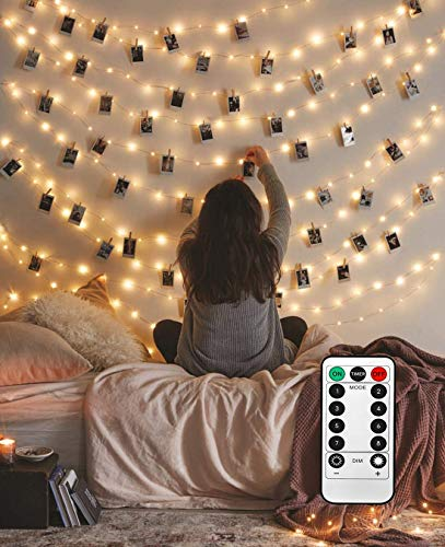 LECLSTAR Photo Hanging Clips String, 50 LED Photo Clips String Lights 17ft Photo String Lights with Clips, 8 Modes Fairy Lights with Clips for Pictures, with Remote Function for Photos Pictures Cards