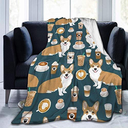 N/A Micro Fleece Blanket, Cute Corgi Pet and Milk Tea Antiarrugas Premium Elegante para la Manta de la Cama del jardín,127x153cm